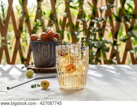 Gooseberry Ice Tea Or Lemonade. Summer Homemade Refreshing Mocktail, Non-alcoholic Drink With Berrie