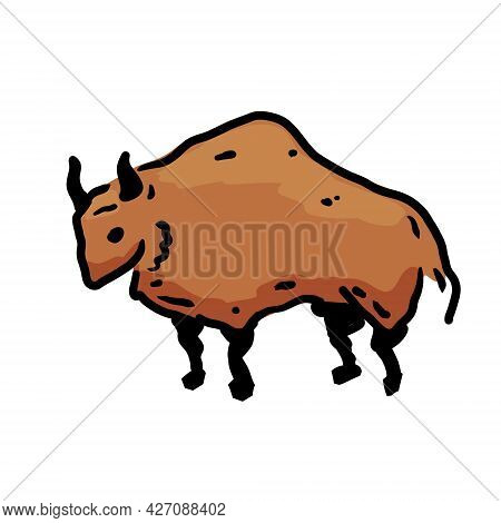 Rock Art. Drawing Of A Bull Or Ox. Primitive Tribal Cartoon.