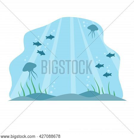 Underwater World. Blue Water And Bottom With Sea Animals. Fish And Jellyfish. Ocean Landscape And Ba