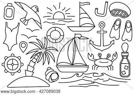 Summer Vacation At The Sea. Beach Stuff. Collection Of Things For The Vacation. Vector Line Icon. Ed