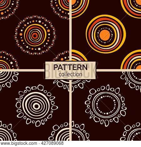 Set Of Four Australian Aboriginal Seamless Patterns With Circles, Crooked Stripes, Dots, Isolated On