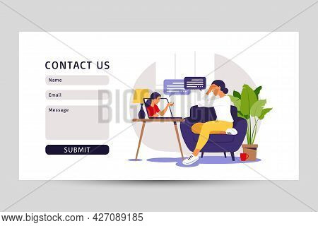Psychological Counseling Concept. Contact Us Form For Web. Psychological Assistance Service. Vector