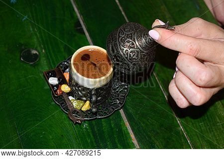 Turkish Coffee In A Traditional Ottoman Cup And Sweets.