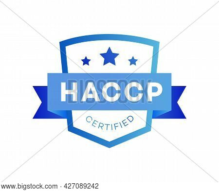 Haccp - Hazard Analysis Critical Control Points Certified Award Color Flat Style Isolated On White B