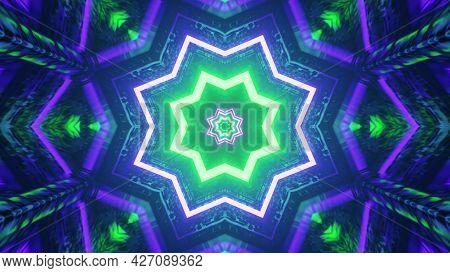 Glowing Neon Stars Pattern 4k Uhd 3d Illustration