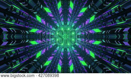 Neon Lights In Sci Fi Tunnel 4k Uhd 3d Illustration