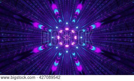 Colorful Neon Lights In Dark Tunnel 4k Uhd 3d Illustration