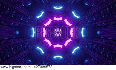 Dark Sci Fi Tunnel With Ornamental Neon Illumination 4k Uhd 3d Illustration