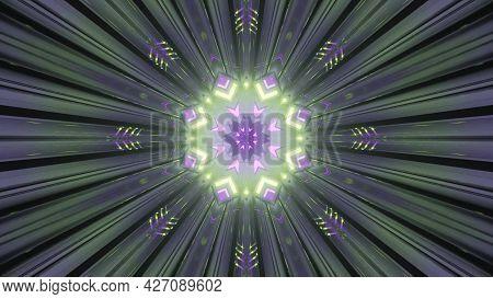 Fantastic Circular Tunnel With Shiny Lights 4k Uhd 3d Illustration