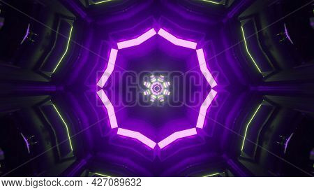 Sci Fi Virtual Corridor With Shiny Neon Illumination 4k Uhd 3d Illustration