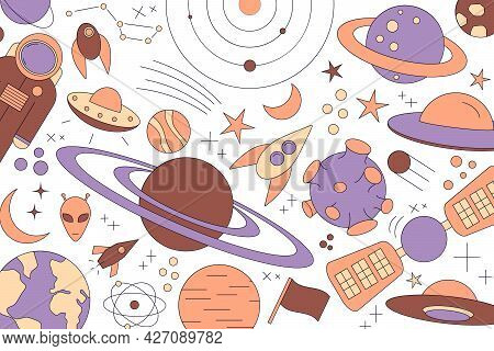 Modern Pattern Of Planet, Star, Comet. With Different Rockets. Universe Line Drawings. Cosmos. Trend