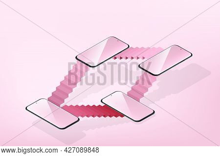 Isometric Smartphone With Ladder That Separates Floors According To Height Of Layout On Pink Backgro
