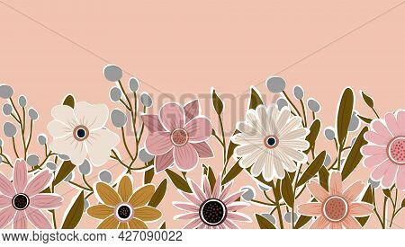 Horizontal Backdrop Decorated With Blooming Flowers And Leaves Border. Abstract Art Nature Backgroun