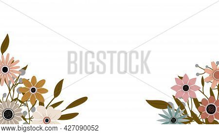 Abstract Art Nature Background Vector. Trendy Plants Frame. Design Background Color Flowers, Decorat