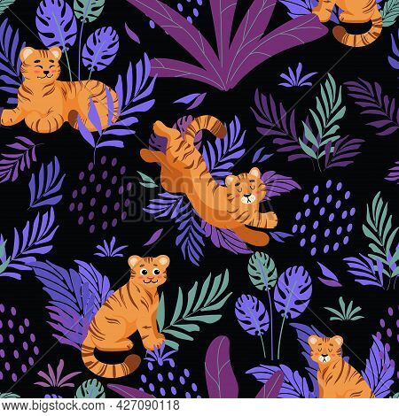 Bright Summer Tropical Seamless Pattern. Cute Tiger, Palm Leaves Childrens Vector Illustration Carto
