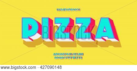 Vector Pizza Font 3d Bold Color Modern Typography For Infographics, Motion Graphics, Video, Promotio