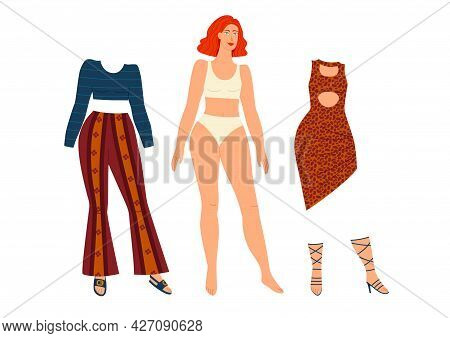 Color Illustration Of A Paper Doll. Wardrobe Clothes For A Girl Isolated On White Background. Pretty