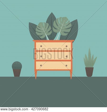 Stylized Chest Of Drawers With Plants In The Background. Colorful Flat Illustration. Element For Des