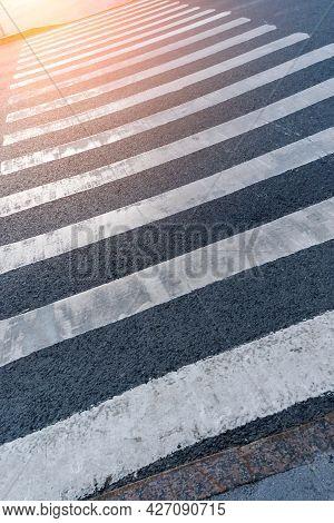 Pedestrian Crosswalk Across The Road Vertical Photo