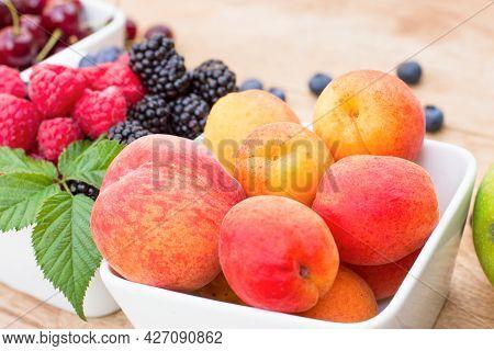 Fresh Seasonal Fruit In A Bowl, Healthy Vegetarian Food On Table