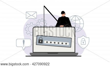 The Criminal Behind A Laptop, Computer. Hidden Mining. Phishing Notifications. Account Hacking. A Fr