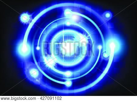 Abstract Futuristic Hi-tech Background. Blue Light Effects On Round Placeholder. Sci-fi Glowing Sphe