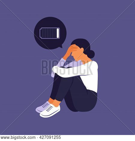 Tired Woman Sitting With A Discharged Battery In The Thoughts. Concept Emotional Burnout Or Mental D