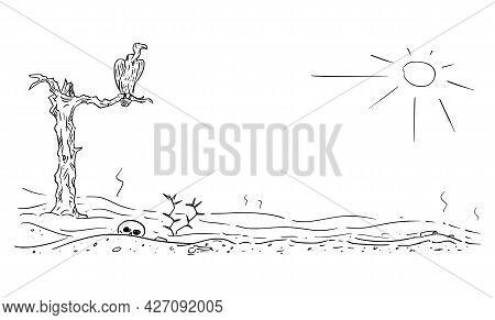 Vector Cartoon Drawing Of Arid Desert Landscape Illustration With Vulture Sitting On Dead Tree