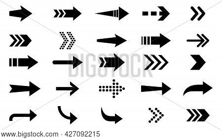 Arrows Icon. Big Set Of Vector Flat Arrows. Collection Of Concept Arrows For Web Design, Mobile Apps