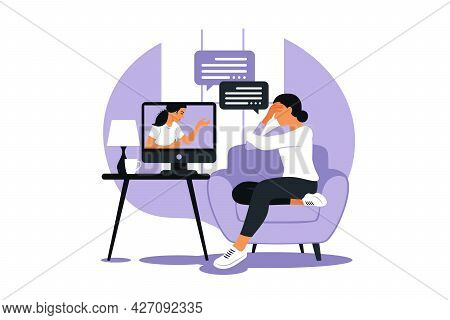 Online Therapy And Counselling Under Stress And Depression. Young Woman Psychotherapist Supports Fem