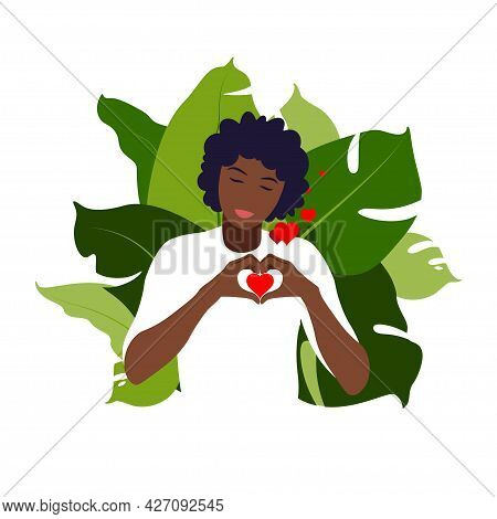 Young African Woman Hugs A Big Heart With Love And Care. Self Care And Body Positive Concept. Femini
