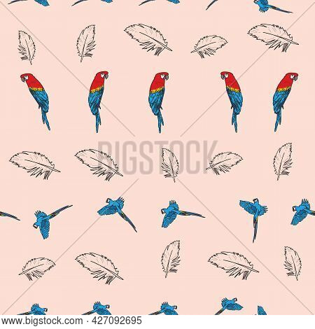 Vector Pink Background Tropical Birds, Parrots, Macaw, Exotic Cockatoo Birds. Seamless Pattern Backg