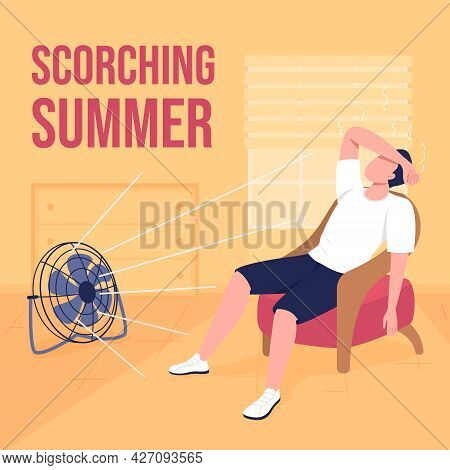 Hot Weather Social Media Post Mockup. Scorching Summer Phrase. Web Banner Design Template. Suffering