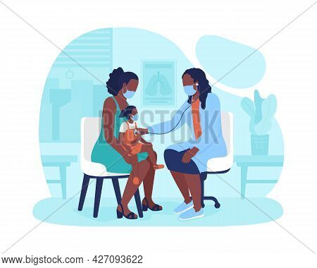 Little Kid Appointment At Children Hospital 2d Vector Isolated Illustration. Lung Sound Screen. Chec