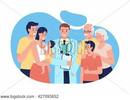 General Medical Treatment For People All Ages 2d Vector Isolated Illustration. Providing Health Care