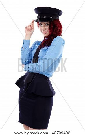 Police-woman In Closeup Pose
