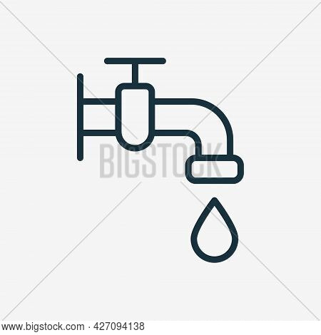 Water Tap With Classic Valve Linear Icon. Faucet And Drop Of Water Line Pictogram. Bathroom Symbol F