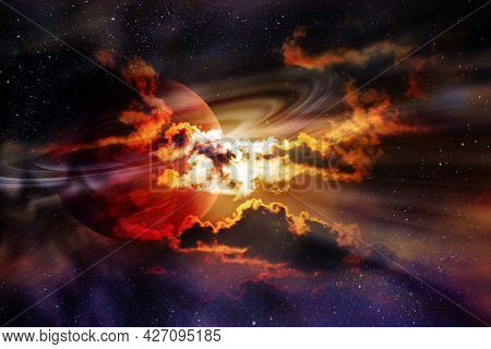 Saturn Planet In Clouds Surrounded By Stars. Elements Of This Image Furnished By Nasa.