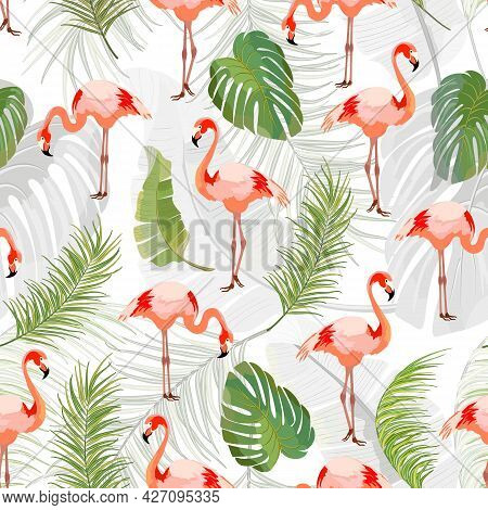 Pattern With Flamingos And Leaves.flamingo And Palm Leaves On A White Background In A Vector Pattern
