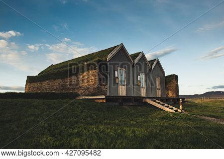 Traditional Ancient Icelandic Turf Houses In The Northern Iceland, Travel Background