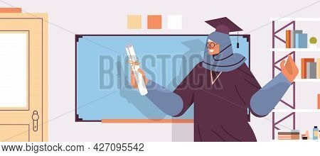 Graduated Student With Certificate Standing Near Chalkboard Graduate Celebrating Academic Diploma De