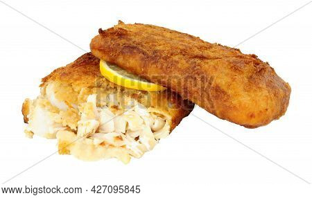 Two Fried Beer Battered Cod Fish Fillets Isolated On A White Background