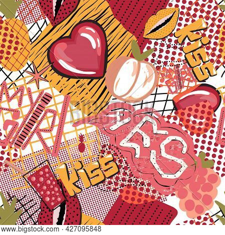 Abstract Seamless Grunge Colorful Pattern. Repeating Background. Graffiti Pattern. Street Style. Urb