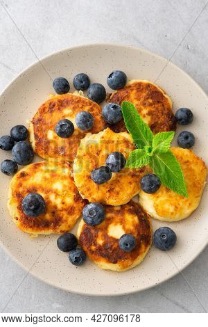 Cottage Cheese Pancake With Blueberries And Mint