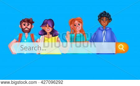 Mix Race People With Search Bar Searching Browsing Internet Data Networking Concept