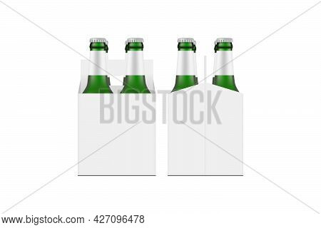Carrier Box Mockup With Green Glass Beer Bottles, Front And Side View, Isolated On White Background.