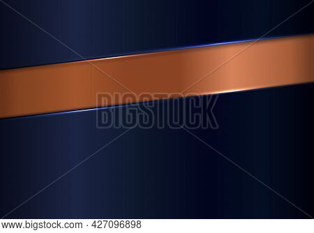 Abstract Shiny Blue And Copper Metallic Background And Texture Luxury Style. Vector Illustration