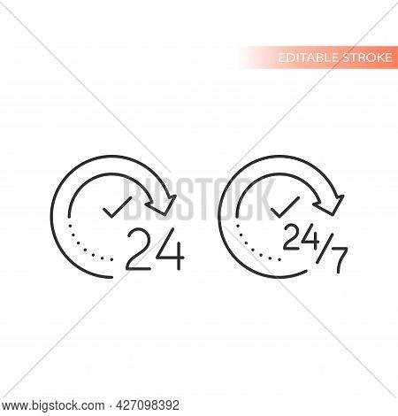 24 Hour Nonstop Clock Arrow Non Stop Icon Circle.eps