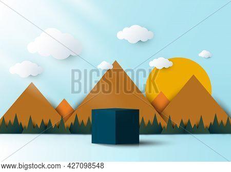 3d Realistic Blue Cube Shaped Pedestal Podium With Landscape Nature Mountain, Cloud And Sun Backdrop