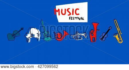 Musical Promotional Poster With Musical Instruments Colorful Vector. Violoncello, Piano, Euphonium,